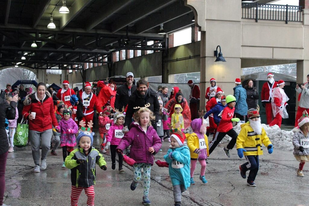Children participating in the Reindeer Run at Vail parking garage in Arlington Heights.